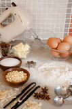Baking ingredients with utensils Stock Photography