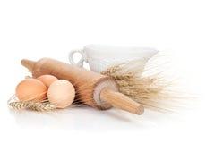 Baking ingredients and utensils Stock Photo