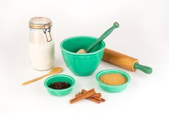 Baking Ingredients with Vintage Festive Bowls and Kitchenware. stock image