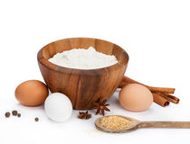 Baking Ingredients. On a white background. Top of image is isolated royalty free stock photography