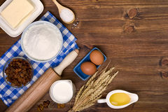 Baking ingredients on wooden table background Stock Photography