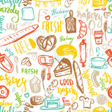 Baking items Seamless pattern with lettering. Hand drawn vector illustration for menus, banners, recipes and packages. Stock Photo