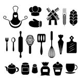 Baking kitchen tools silhouettes set Stock Image