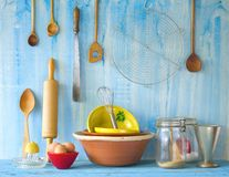 Baking. Kitchen utensils and ingredients for traditional baking Stock Photography