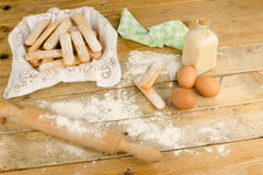Baking ladyfinger biscuits Stock Photo