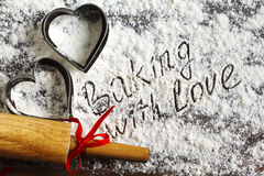 Baking with love. Flour background. Royalty Free Stock Photography