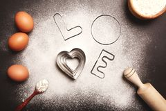 Baking with love stock photos
