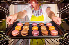 Baking macarons in the oven. Royalty Free Stock Photo