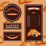 Baking Menu Design. Baking Shop, Cafe, Market. Pattern with Croissant Emblems and Logo. Template for Price. Eps 10 Stock Photos