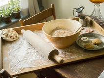 Baking. Mixed ingredients, a roller and flour. what's better than baking Royalty Free Stock Images