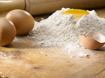 Baking and mixing. Fine flour and egg prepared for baking Stock Photos