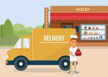 Baking Delivery Concept. Vector Flat Illustration. vector illustration