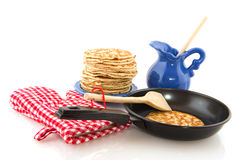 Baking pancakes Royalty Free Stock Photography