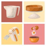 Baking pastry prepare cooking ingredients kitchen cards utensils homemade food preparation baker vector illustration. Traditional cake recipe dessert culinary Royalty Free Stock Image