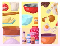 Baking pastry prepare cooking ingredients kitchen cards utensils homemade food preparation baker vector illustration. Traditional cake recipe dessert culinary Stock Photo
