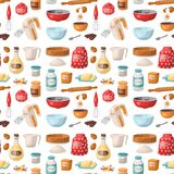 Baking pastry prepare cooking ingredients kitchen utensils homemade food preparation baker seamless pattern background. Baking pastry prepare cooking ingredients royalty free illustration