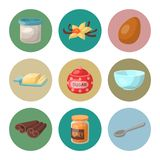 Baking pastry prepare cooking ingredients kitchen utensils homemade food preparation baker vector illustration. Traditional cake recipe dessert culinary tools Stock Photos