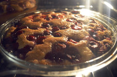 Baking pie with cherry in oven Royalty Free Stock Photography