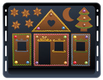 Baking Plate Gingerbread House Candy Ornament Stock Images