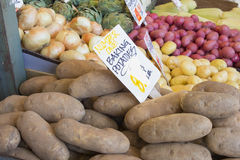 Baking Potatoes and Vegetables Stall Display Royalty Free Stock Photos
