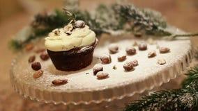 Baking pouring powder over cake delicious. Sugar addiction. Video stock video