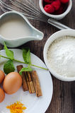 Baking and preparing a cake. Ingredients to prepare a cinnamon cake stock image