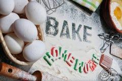 Baking process utensils Royalty Free Stock Image