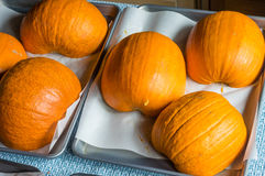 Baking pumpkins to make fresh pie Stock Photo
