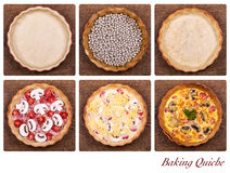 Baking quiche. A collage showing the stages of baking a quiche, from pastry through baking blind to the finished product Royalty Free Stock Images