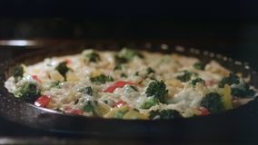 Is baking quiche in time lapse. stock video footage