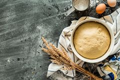 Baking - raw dough pastry in a bowl on black Stock Images