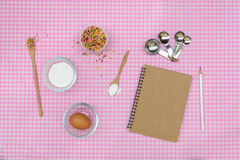 Baking raw ingredients on table cloth Stock Photo