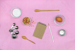 Baking raw ingredients on table cloth Stock Image