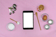 Baking raw ingredients on table cloth Royalty Free Stock Photos