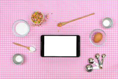 Baking raw ingredients on table cloth Royalty Free Stock Photography