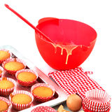 Baking red cup cakes Royalty Free Stock Photography
