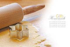 Baking with rolling pin and cookie cutter star, sample text Stock Images