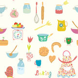 Baking seamless pattern with kitchen objects and flowers Stock Photography