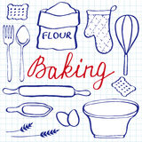 Baking set. Hand-drawn cartoon utensils and ingridients. Doodle drawing. Royalty Free Stock Photography