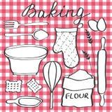 Baking set. Hand-drawn cartoon utensils and ingridients. Doodle drawing. Royalty Free Stock Photos