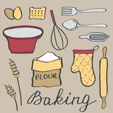 Baking set. Hand-drawn cartoon utensils and ingridients. Doodle drawing. Stock Photography