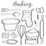 Baking set. Hand-drawn cartoon utensils and ingridients. Doodle drawing. Royalty Free Stock Images