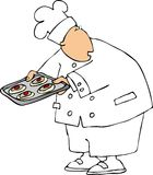 Baking sheet. This illustration depicts a chef holding food on a baking sheet Stock Photo