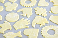 Baking sheet with cookies royalty free stock photos