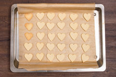 Baking sheet with heart shape cookies Stock Photography