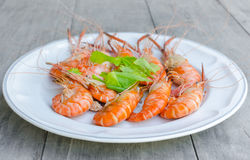 The baking Shrimps on dish Stock Images