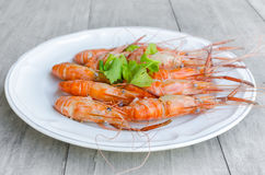 The baking Shrimps on dish Royalty Free Stock Photography