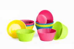 Baking silicone cups for cupcakes or muffins Royalty Free Stock Photo