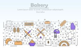 Bakery, Bakehouse or Bakeshop Mono Linear Vector Pictograms. Baking simple mono linear vector pictograms with line icons. Home bakery stroke collage with royalty free illustration