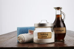 Baking soda. Cleaning agent baking soda with vinegar Stock Photo